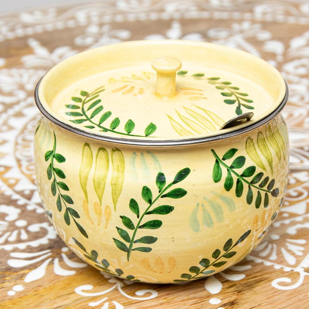 手描きカシミールペイントの壺型卓上シュガーポット ギーポット〔約8.5cm〕 - シダ模様 2 - 裏面にもキレイにペイントされております