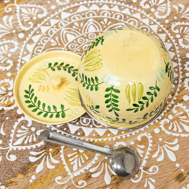 手描きカシミールペイントの壺型卓上シュガーポット ギーポット〔約8.5cm〕 - シダ模様 5 - とてもかわいく描かれています