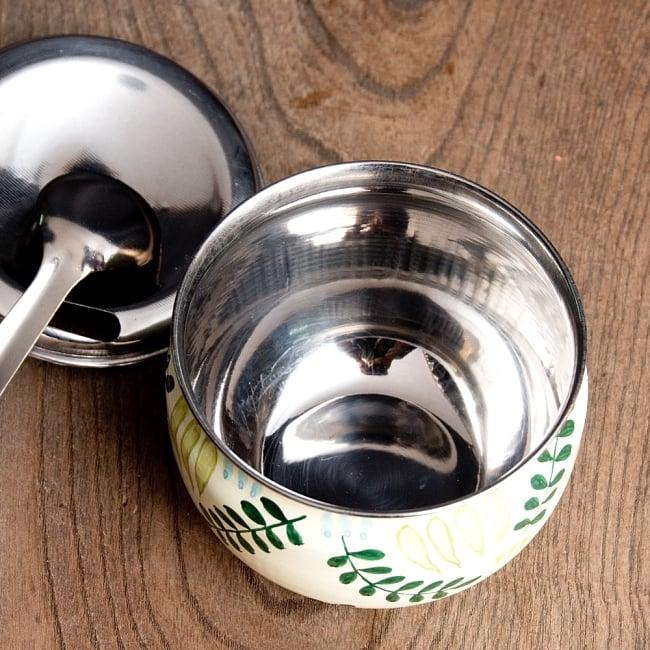 手描きカシミールペイントの壺型卓上シュガーポット ギーポット〔約8.5cm〕 - シダ模様 7 - 中はニオイ移りの少ないステンレス製で安心
