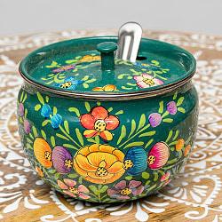 手描きカシミールペイントの壺型卓上シュガーポット ギーポット〔約8.5cm〕 - 更紗ブルーグリーン系