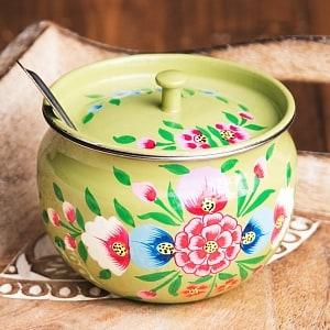 手描きカシミールペイントの壺型卓上シュガーポット ギーポット〔約8.5cm〕 - 更紗黄緑系