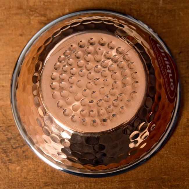 インドの銅装飾 フィンガーボウル・高級カトリ【高さ:3.5cm×直径:11.5cm】 2 - 裏面の写真です