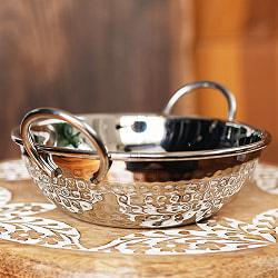 槌目装飾仕上げのステンレスカダイ[装飾持ち手付]サービングパン 食器・お皿(直径:約15.5cm)