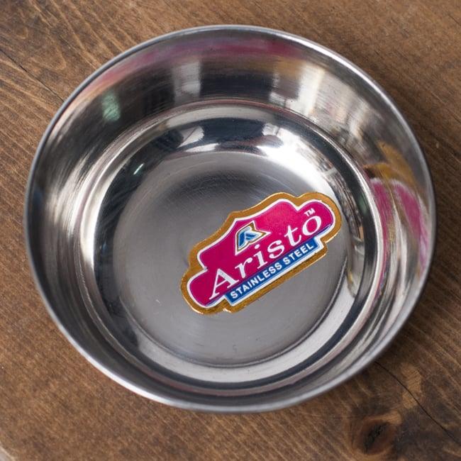 重ねられるカレー小皿 アチャールカトリ(約6.5cm×約2.3cm) 2 - 上からの写真です。艶やかなステンレスが用いられています。