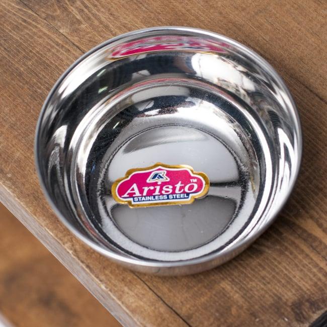 重ねられるカレー小皿 サブジカトリ(約7.8cm×約3cm)の写真2 - 上からの写真です。艶やかなステンレスが用いられています。