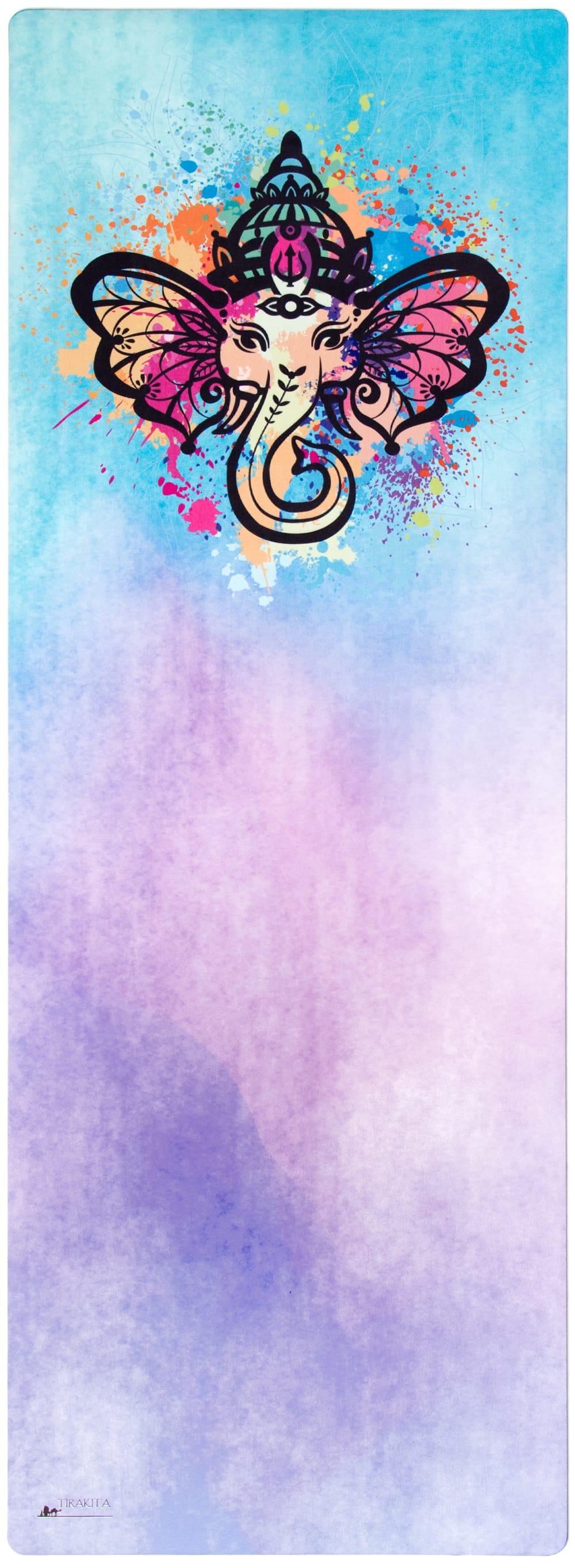 (天然ゴム)高品質エスニックヨガマット4mm - 水彩ガネーシャ 2 - エスニックなデザインが上品で可愛らしいです!