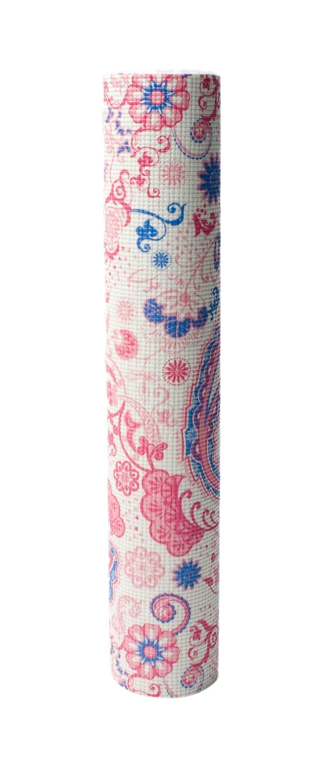エスニック インド ペイズリー柄ヨガマット(6mm) - ピンク 6 - 丸めてお部屋に置いておいても嬉しくなってしまう可愛さです!