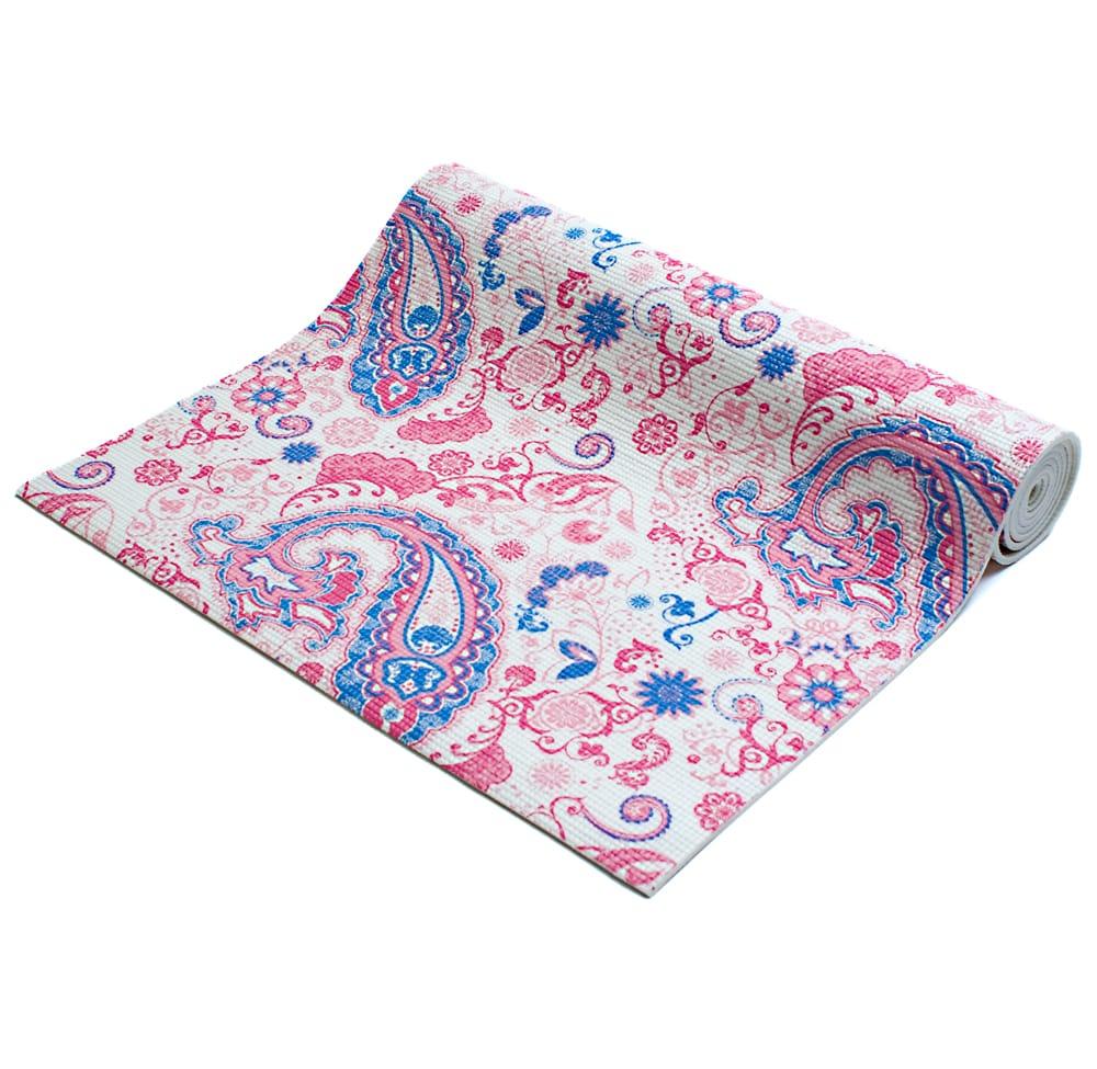 エスニック インド ペイズリー柄ヨガマット(6mm) - ピンクの写真