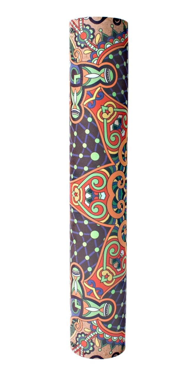 (天然ゴム)高品質エスニックヨガマット4mm - ブラウンマンダラ 6 - 丸めてお部屋に置いておくだけでも嬉しくなってしまう可愛さです!