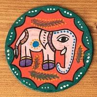 〔丸型〕 ミティラー画のコースター - ピンク象さん