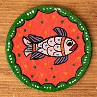 〔丸型〕 ミティラー画のコースター - お魚