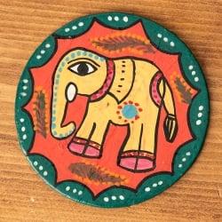 〔丸型〕 ミティラー画のコースター - 黄色象さん