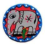 ミティラー画のコースター【灰色象さん丸】