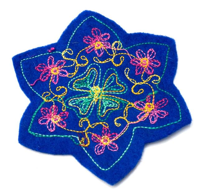 フェルトの花柄コースター 【青】 2 - 裏面はこんな感じです。