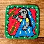 インドとアジアの食品・食材のセール品:[夏のセール]〔四角形〕 ミティラー画のコースター - 青色 女性