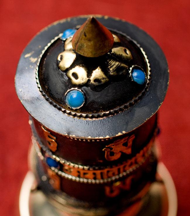 卓上マニ車(中) 3 - 頭部分の宝石