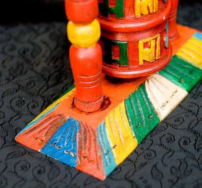 アンティック・卓上2段マニ車[横幅15.5cmx高さ17.5cm] 5 - 商品下部の台座部分です、カラフルに彩られています。
