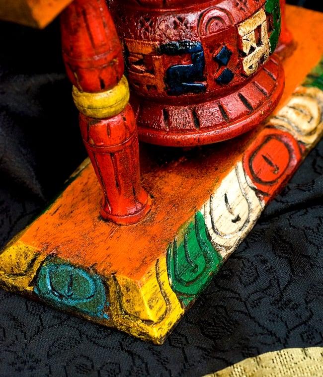 アンティック・卓上マニ車[横幅18cmx高さ16.5cm]の写真5 - 商品下部の台座部分です、カラフルに彩られています。