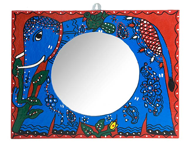 ミティラー画の壁掛け鏡 (四角型30x38cm)の写真