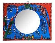 ミティラー画の壁掛け鏡 (四角型