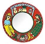 ミティラー画の壁掛け鏡 (丸型30