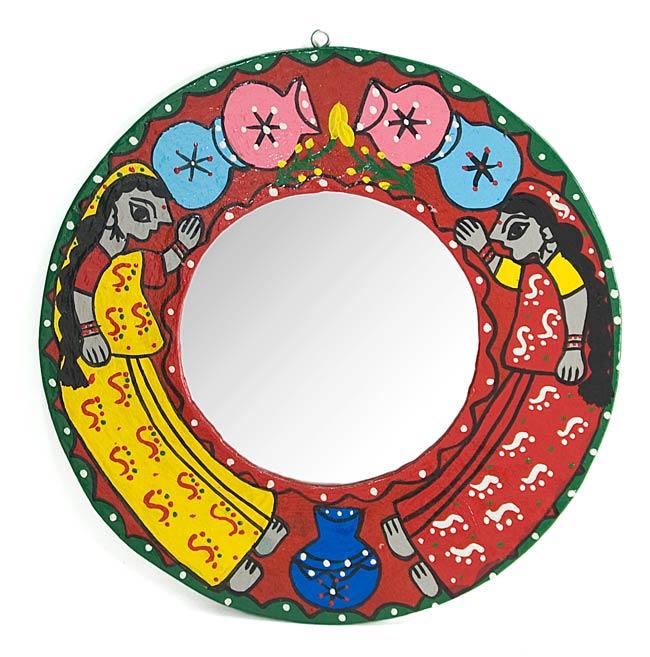 ミティラー画の壁掛け鏡 (丸型25.5cm)の写真