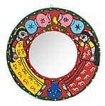 ミティラー画の壁掛け鏡 (丸型25