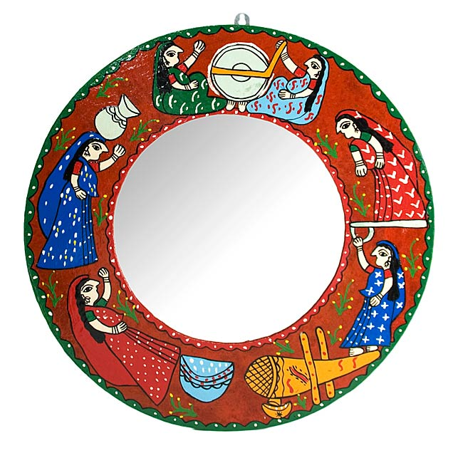 ミティラー画の壁掛け鏡 (丸型50cm)の写真
