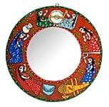 ミティラー画の壁掛け鏡 (丸型50