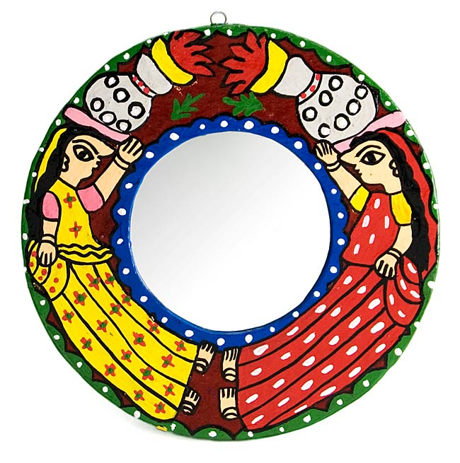 ミティラー画の壁掛け鏡 (丸型20cm)の写真
