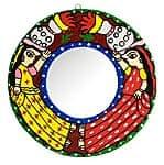 ミティラー画の壁掛け鏡 (丸型20