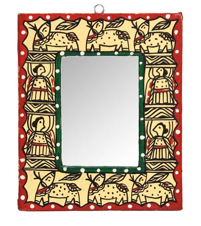 ミティラー画の壁掛け鏡 (四角型15x12.5cm)の写真