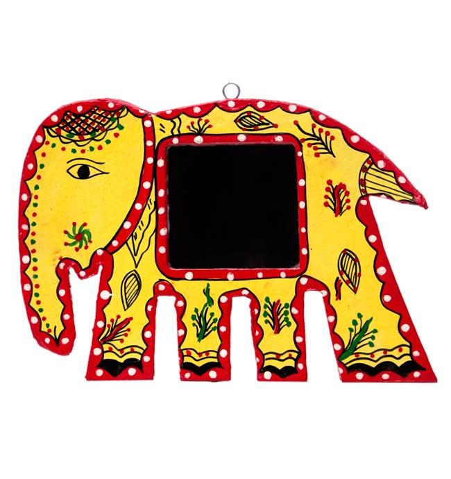 ミティラー画の壁掛け鏡 (象) - 大の写真