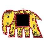 ミティラー画の壁掛け鏡 (象) -