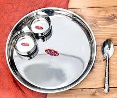 ステンレスカレー皿セット[カレー大皿と小皿2枚のセット]