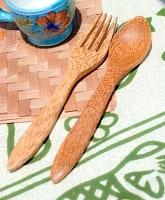 ココナッツのスプーン・フォークセット 約20cm