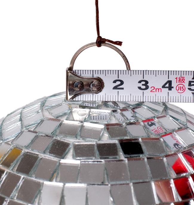 ミラーボール[150mm] 4 - 各サイズを並べてみたところです ※上についてる輪の大きさが現物の大きさが若干異なる場合がございます。予めご了承下さい。