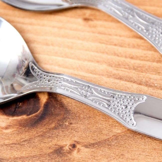 インドのスプーン6本セット「16cm」 3 - シンプルな柄の装飾