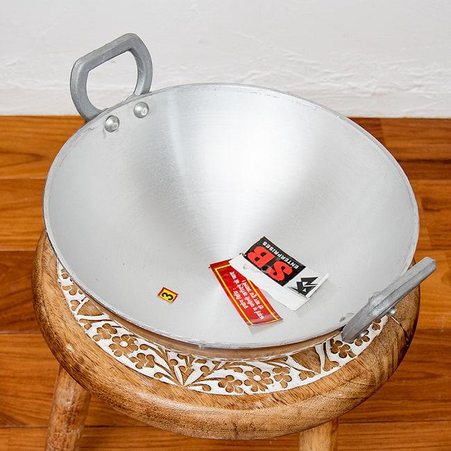 インド鍋 アルミニウム カダイ【直径:約31.5cm】 2 - 上からの写真です