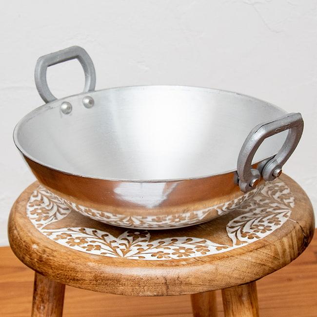 インド鍋 アルミニウム カダイ【直径:約31.5cm】の写真