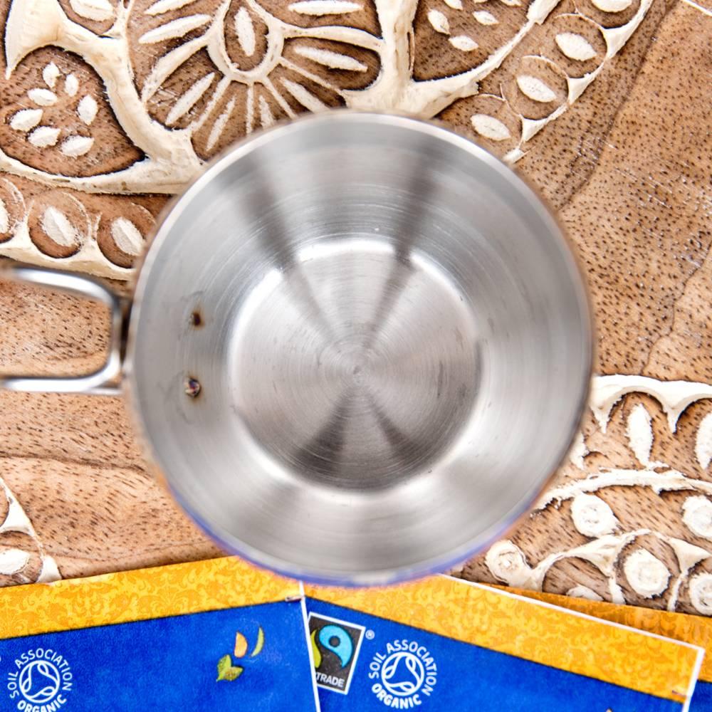 インドの取っ手付き!ステンレスマグコップ【高さ:5.3cm×直径:6.4cm】 2 - 上からの写真です