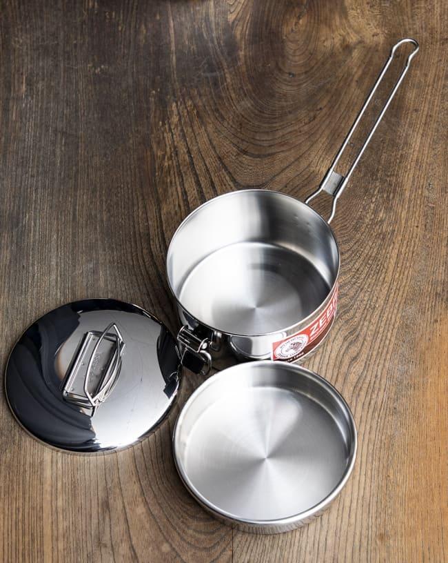 鍋にもなる タイのステンレス弁当箱 ZEBRAブランド - 12cm 7 - 中蓋がついていて2段重ねできます。