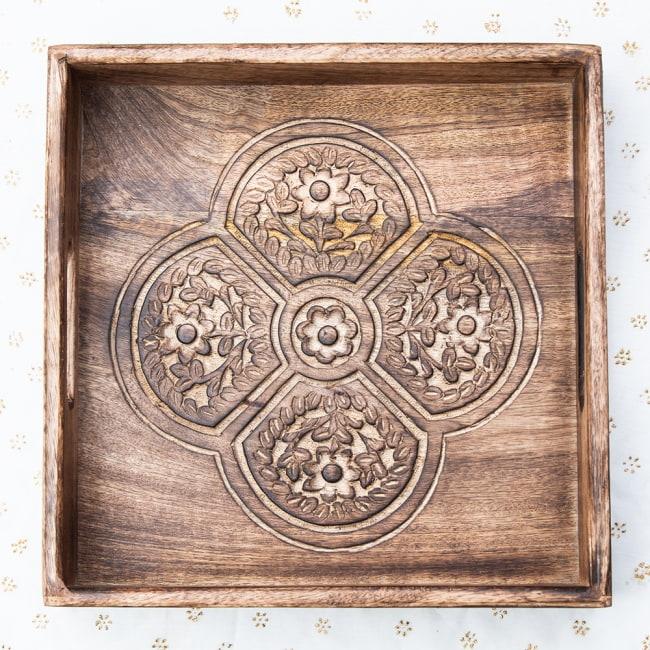 手彫りのマンゴーウッドトレー スクエアSサイズ【30.5cm】 10 - 選択:2