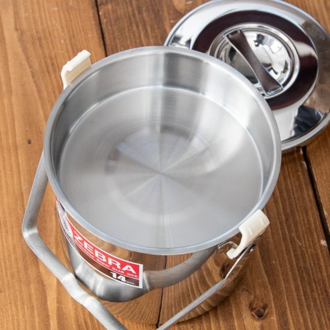 〔14cm 2L〕ブッシュクラフトの定番 ゼブラ社のビリー缶・ビリーポット 焚き火とキャンプの直火調理へ〔ステンレスSUS304製〕 10 - 中蓋がついているので便利