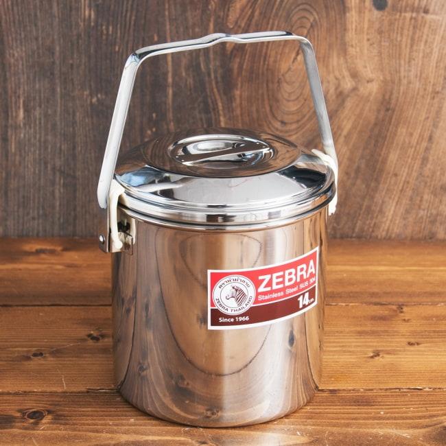 〔14cm 2L〕ブッシュクラフトの定番 ゼブラ社のビリー缶・ビリーポット 焚き火とキャンプの直火調理へ〔ステンレスSUS304製〕 2 - 全体写真です