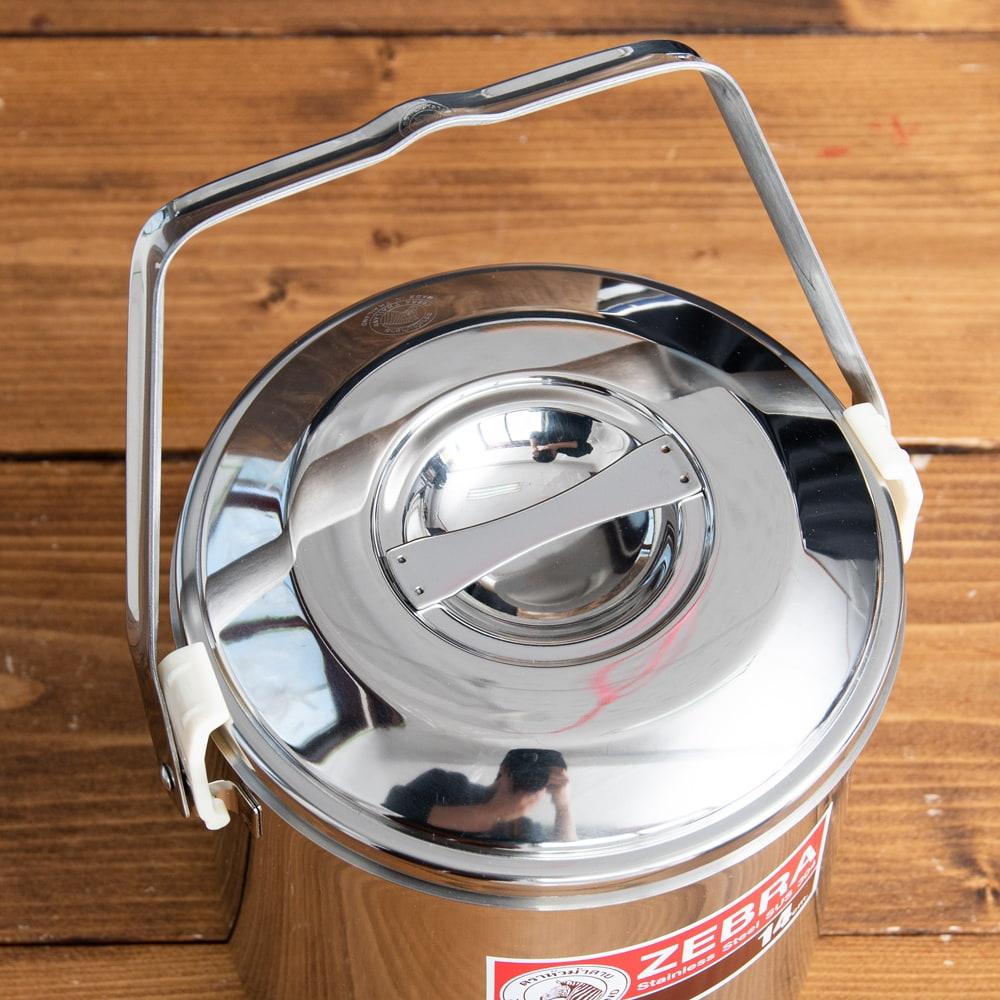 〔14cm 2L〕ブッシュクラフトの定番 ゼブラ社のビリー缶・ビリーポット 焚き火とキャンプの直火調理へ〔ステンレスSUS304製〕 4 - 上からの写真です