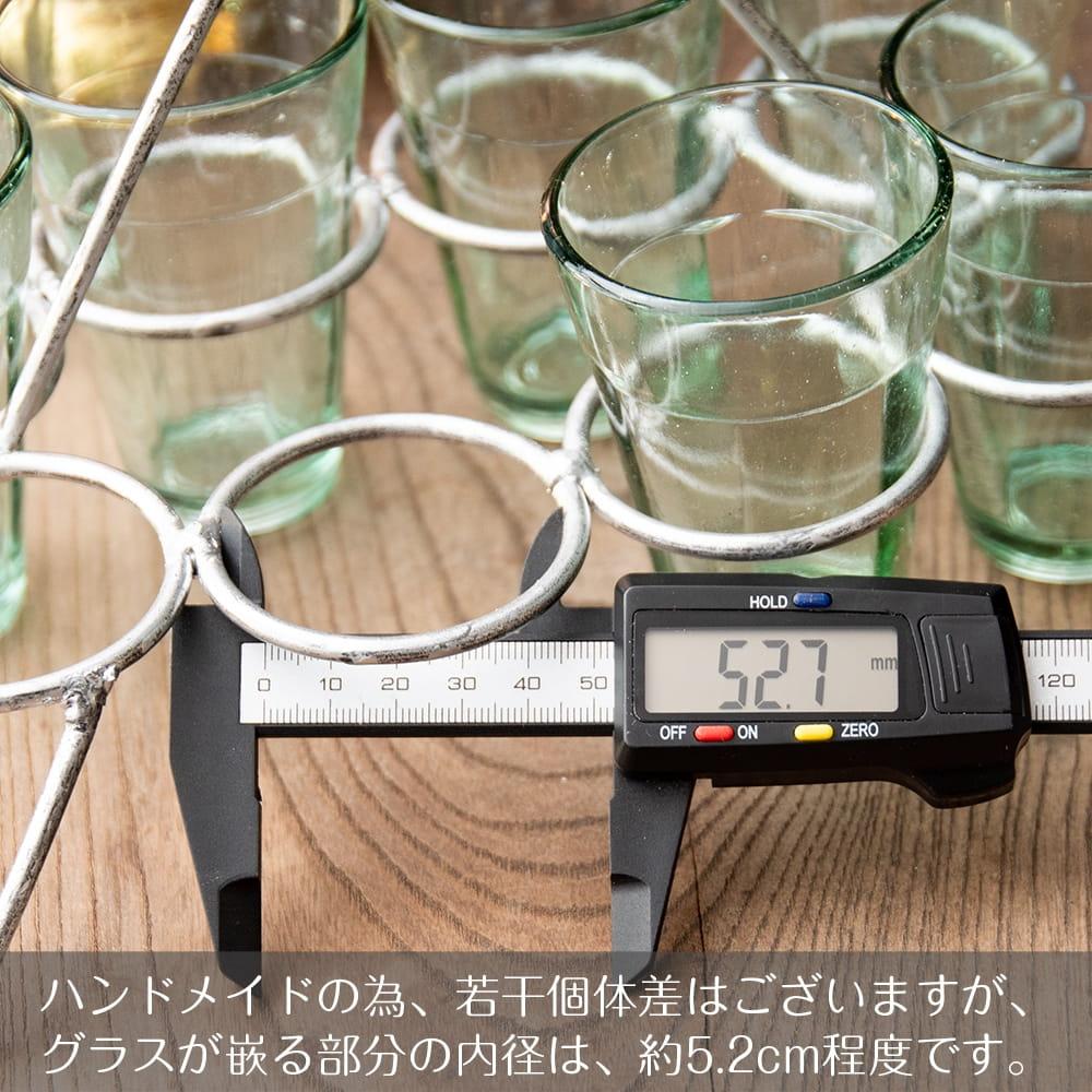 チャイワーラーのチャイカップホルダー - 8カップ用 8 - 内径は約5.2cm程度です。