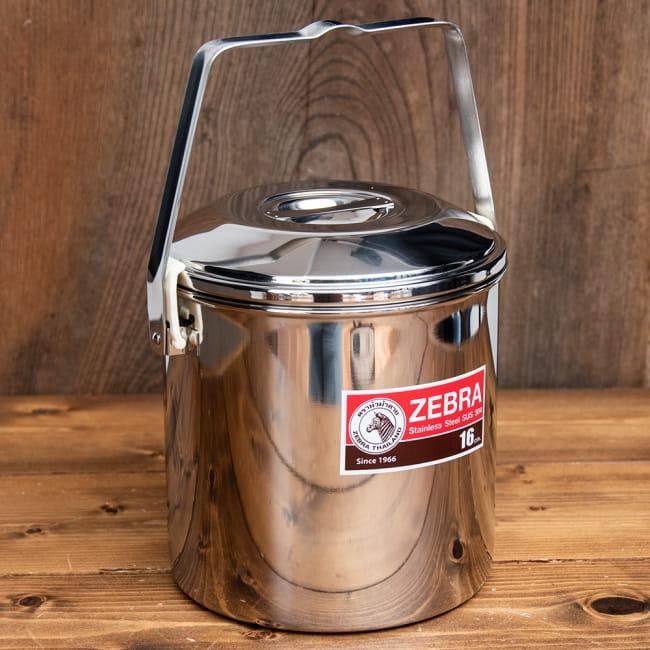 〔16cm 3L〕ブッシュクラフトの定番 ゼブラ社のビリー缶・ビリーポット 焚き火とキャンプの直火調理へ〔ステンレスSUS304製〕 2 - 全体写真です