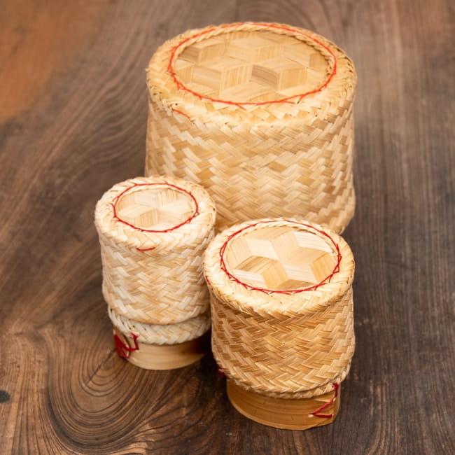 タイの竹製ごはんケース - 大 8 - 小・中・大を並べてみました。