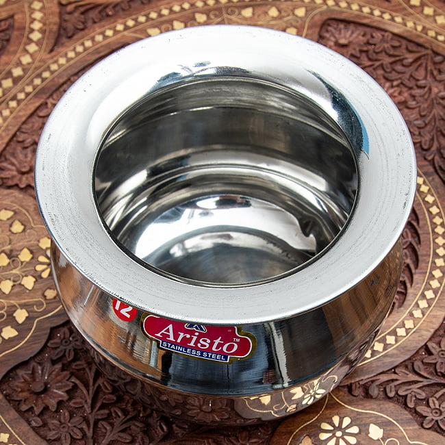 [インド品質]ステンレスのビリヤニ鍋 3人分以上サイズ(1800cc) 2 - 上から見てみました。積み重ねを想定してフチが広くなっているのが特徴的です。蓋は付属しません。